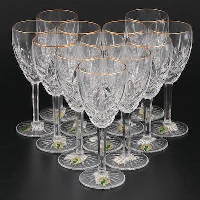 "Waterford Crystal ""Golden Araglin"" Wine Glasses, Set of Twelve"