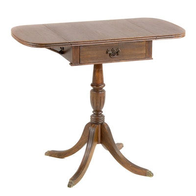 Butler Classical Style Walnut Dropleaf Work Table, Mid to Late 20th Century
