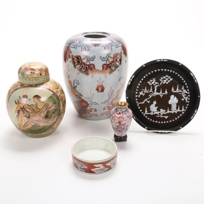 Chinese Ginger Jars, Cloisonné Bud Vase, Bowl and Mother-of-Pearl Inlaid Plate