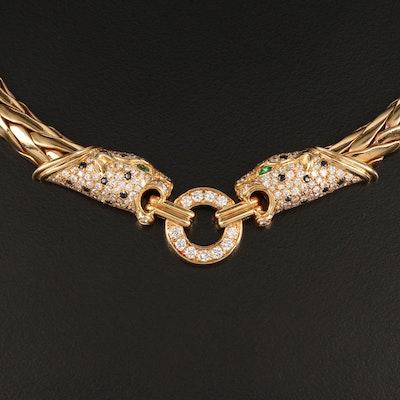 French 18K 3.00 CTW Diamond, Sapphire and Emerald Jaguar Necklace