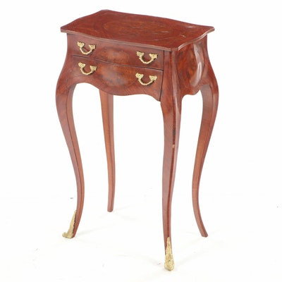 Louis XV Style Kingwood and Burlwood Petite Bombé Commode, 20th Century