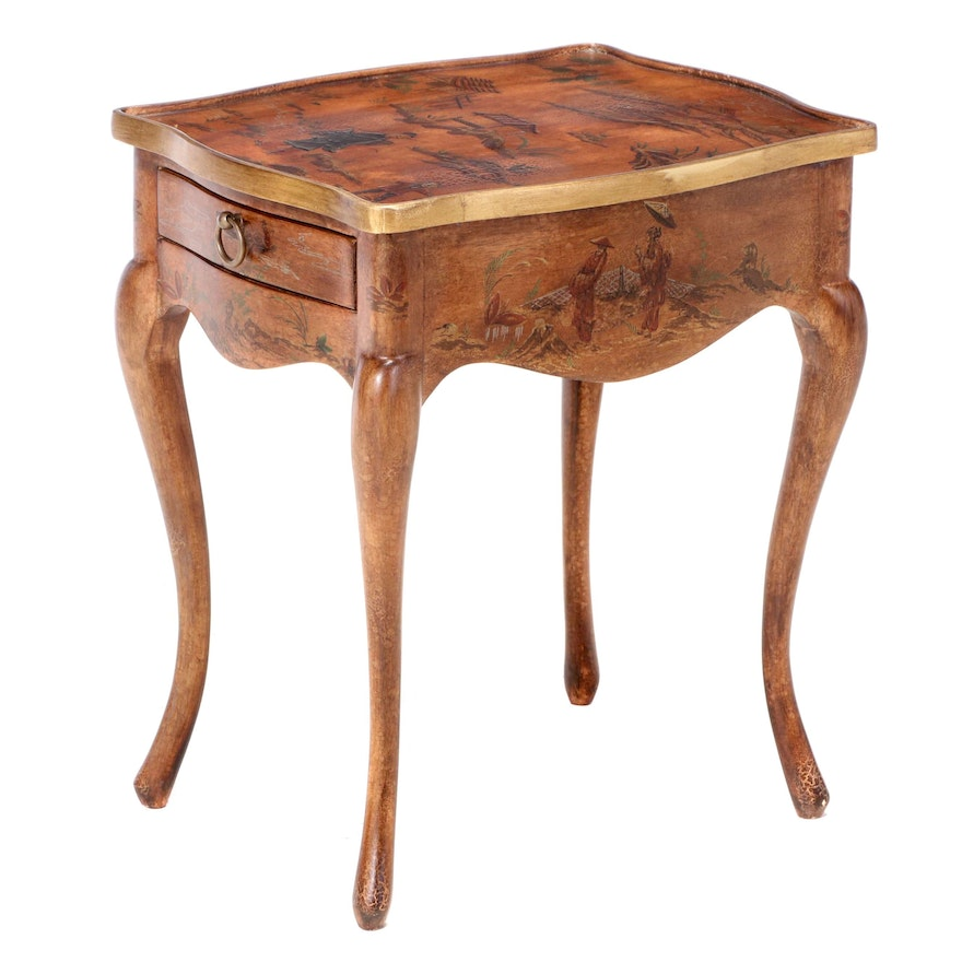 Louis XV Style Paint-Decorated Chinoiserie End Table