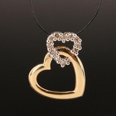 10K Diamond Double Heart Pendant