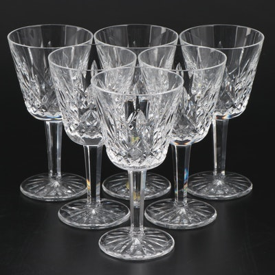 "Waterford ""Lismore"" Crystal Claret Wine Glasses, Set of Six"