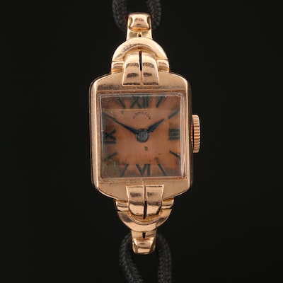 1939 Hamilton Rose Gold Stem Wind Wristwatch