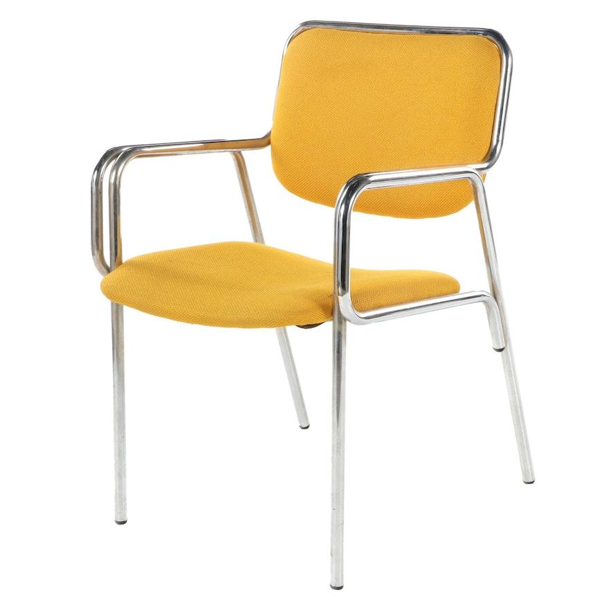 Global Upholstery Co. Ltd. Modernist Chromed and Tubular Steel Armchair