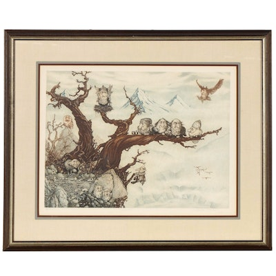 "Charles Bragg Color Etching with Aquatint ""The Roost,"" Late 20th Century"