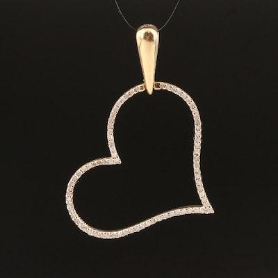10K Heart Pendant Outlined in Diamonds