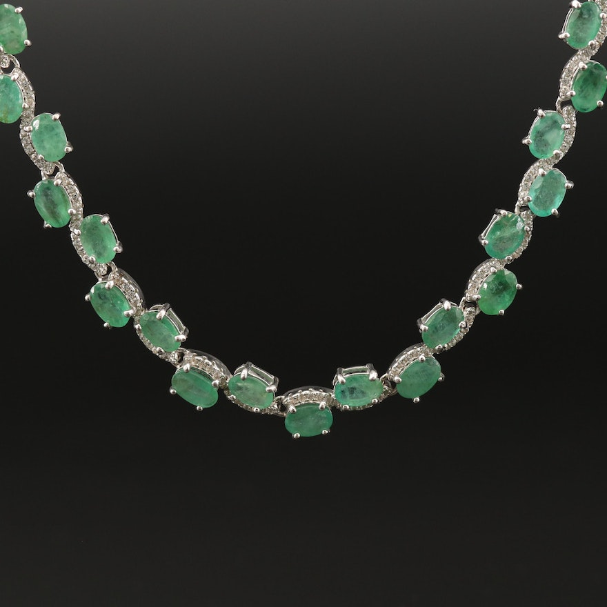 Sterling Silver Emerald and Sapphire Necklace