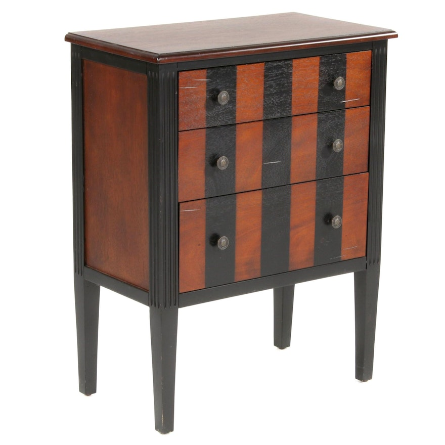 Pier 1 Imports Three-Drawer Multi-Stained Wood Nightstand