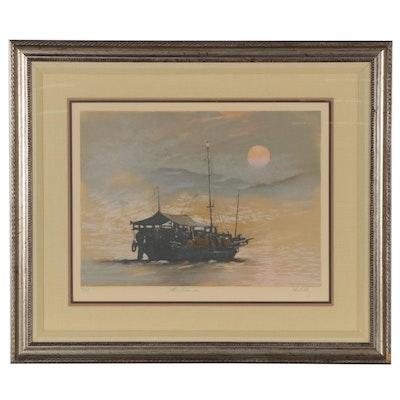 "John Kelly Lithograph ""South China Sea,"" Late 20th Century"