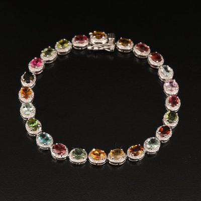 Sterling Tourmaline and Diamond Halo Bracelet