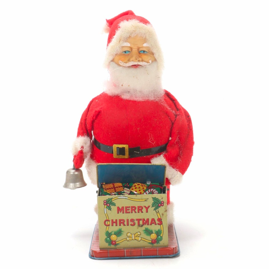 Wind-Up Santa Toy with Bell, Early to Mid-20th Century