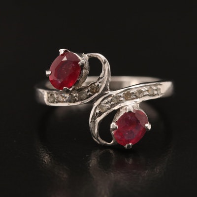Sterling Ruby and Diamond Bypass Ring