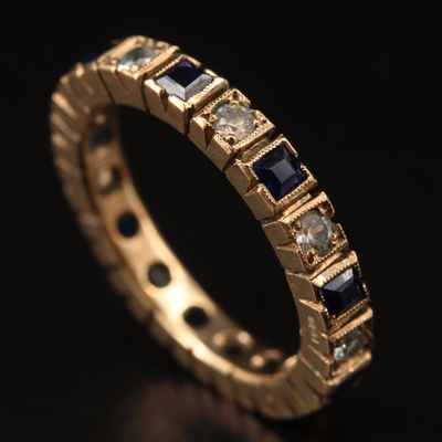 Vintage 9K Sapphire and White Spinel Eternity Band