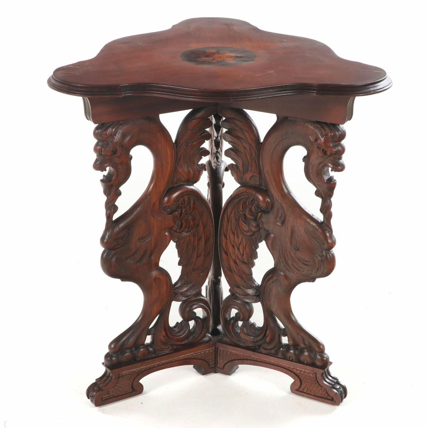Renaissance Revival Walnut and Marquetry Side Table, Early to Mid-20th Century