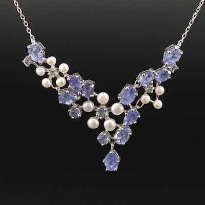 Sterling Silver Tanzanite and Pearl Stationary Pendant Necklace