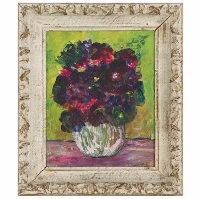 Bertha Davis Floral Still Life Acrylic Painting, Late 20th Century