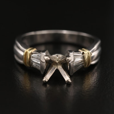Platinum Diamond Semi-Mount Ring with 14K and 18K Accents
