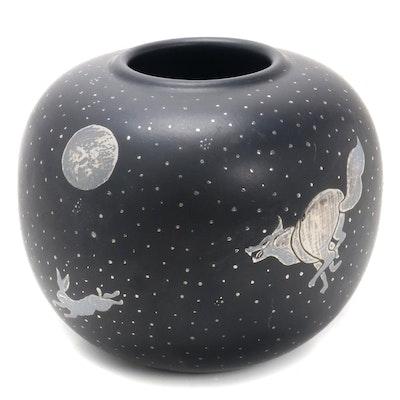 Los Castillo Plata Pura  Mexican Silver Inlay Ceramic Bulbous Vase, 1990