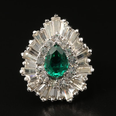 Sterling Silver Rhinestone and Glass Ballerina Ring