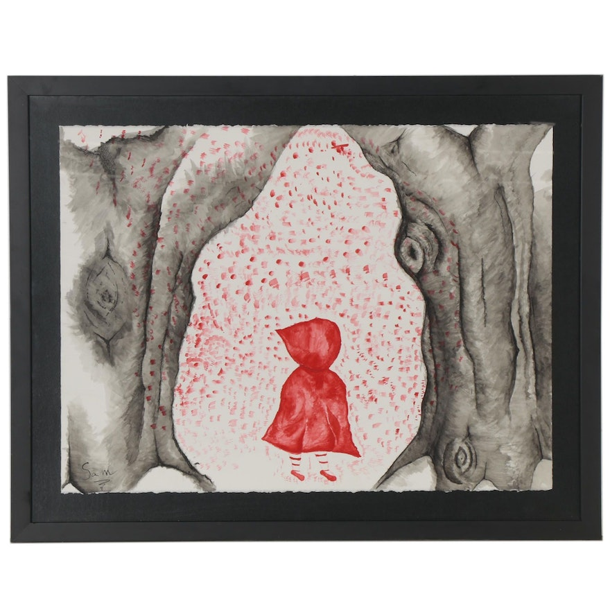 Watercolor and Ink Painting of Little Red Riding Hood