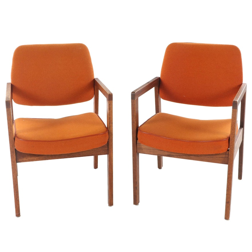 Pair of Superior Chaircraft Corp. Modernist Oak Armchairs, dated 1985