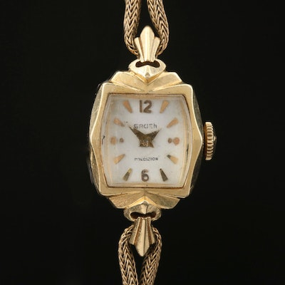 Vintage Gruen 14K Gold Stem Wind Wristwatch