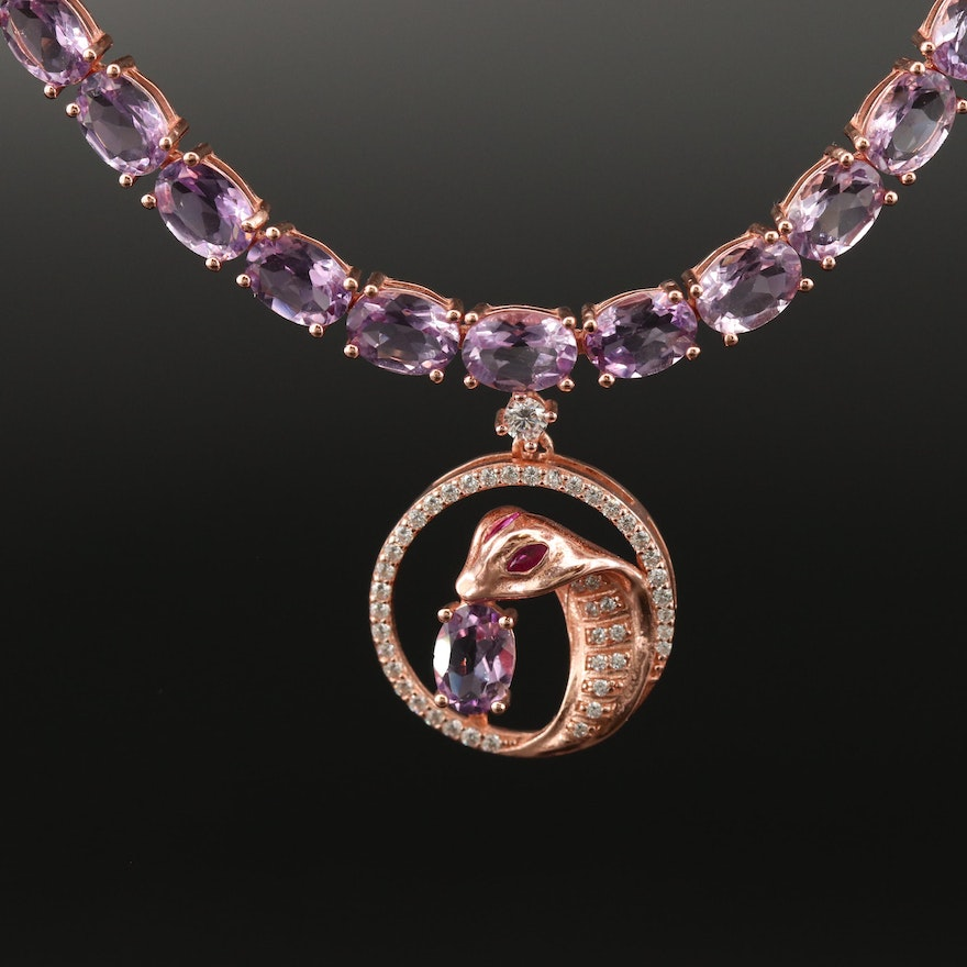 Sterling, Amethyst, Ruby and Cubic Zirconia Cobra Stationary Pendant Necklace