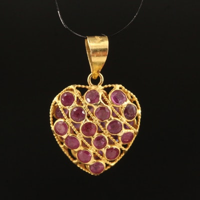 18K Ruby Heart Pendant