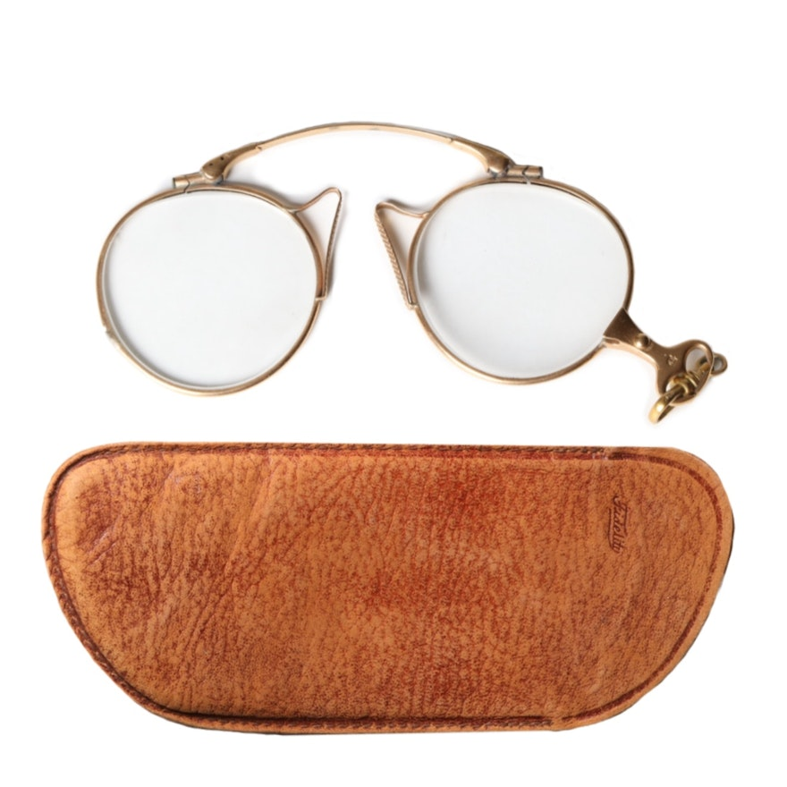 14K Yellow Gold Prescription Pinch-Nose Glasses and Leather Case
