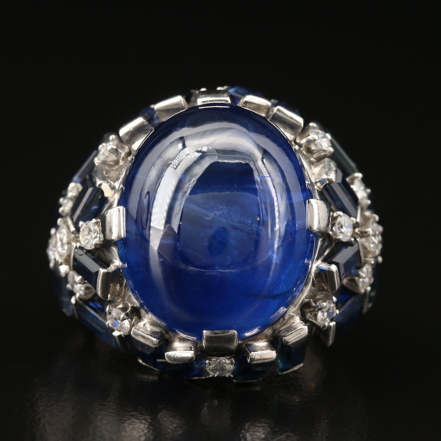 Platinum 37.80 CT Sapphire Ring with Sapphire and Diamond Accents