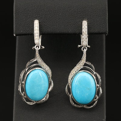 Sterling Silver Turquoise and Diamond Dangle Earrings