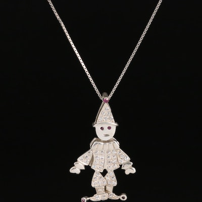 Sterling Ruby and Cubic Zirconia Articulated Clown Pendant Necklace