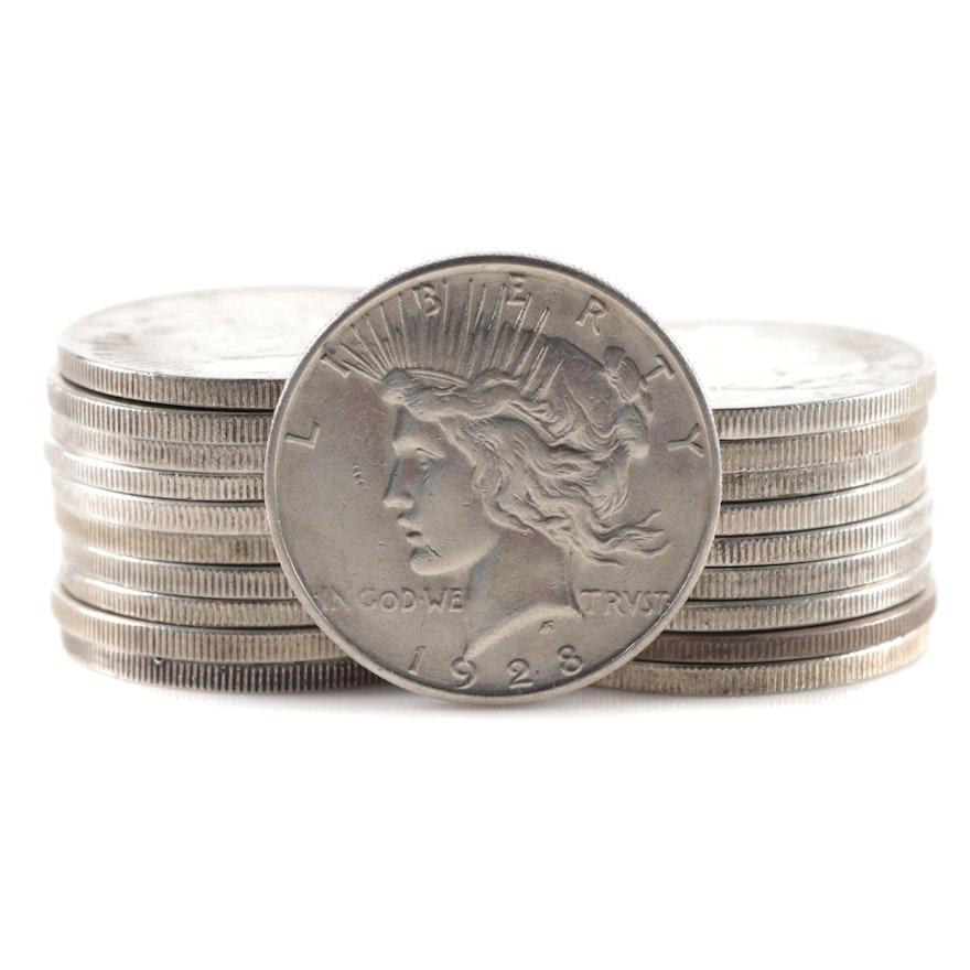 Twenty Peace Silver Dollars Including 1928-S