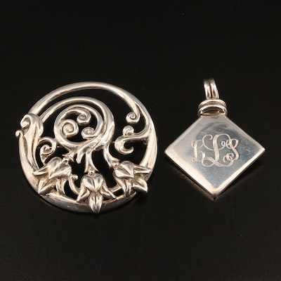 Art Nouveau Style Floral Brooch and Mexican Pendant