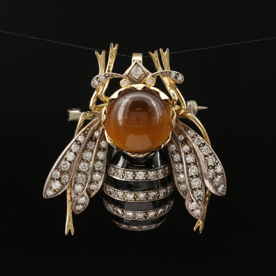Vintage 18K Sterling Tiger's Eye, 2.07 CTW Diamond and Enamel Bee Brooch