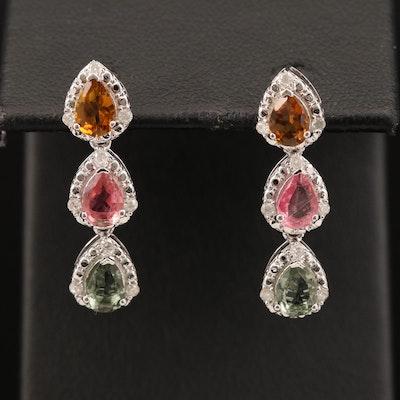 Sterling Silver Citrine, Tourmaline, Prasiolite, and Diamond Earrings