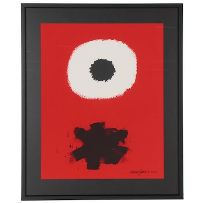 "Serigraph after Adolph Gottlieb ""White Disc - Red Ground,"" 2001"