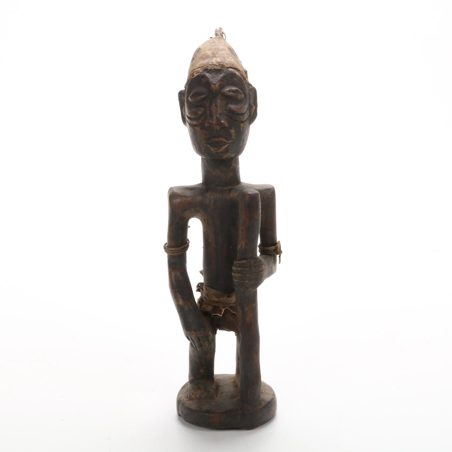 Luba Inspired Hand-Carved Wood Figure, Central Africa