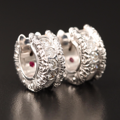 "Roberto Coin ""Cento"" 18K Diamond and Ruby Huggie Earrings"