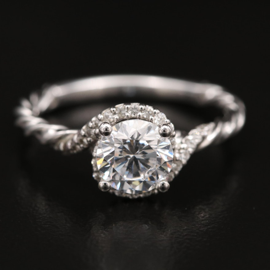 14K Diamond Halo Semi-Mount Ring