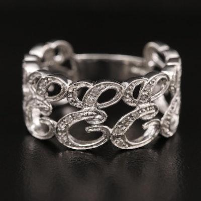 14K Diamond Cursive 'E' Ring