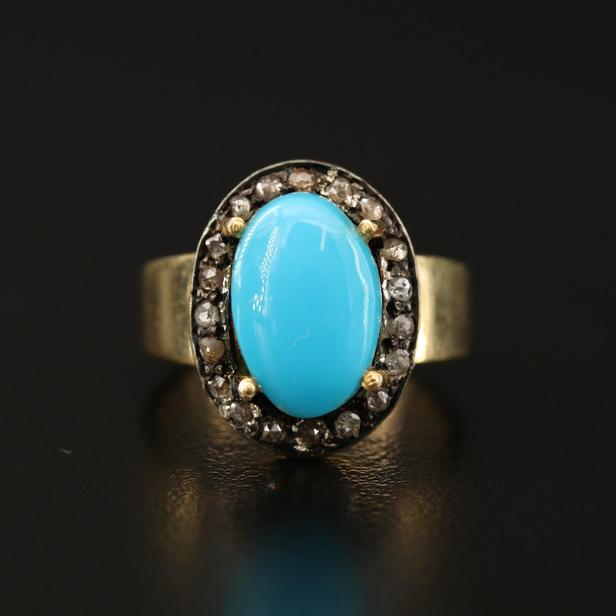 Sterling Silver Turquoise and Diamond Halo Ring