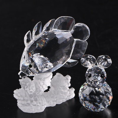 """Swarovski Crystal """"Butterfly Fish on Coral"""" and Rabbit Figurines, Late 20th C."""