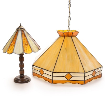 Stained Glass Dome Pendant Light and Accent Lamp, Mid to Late 20th Century