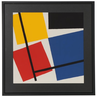 "Serigraph after Theo van Doesburg ""Simultaneous Counter-Composition,"" 1989"