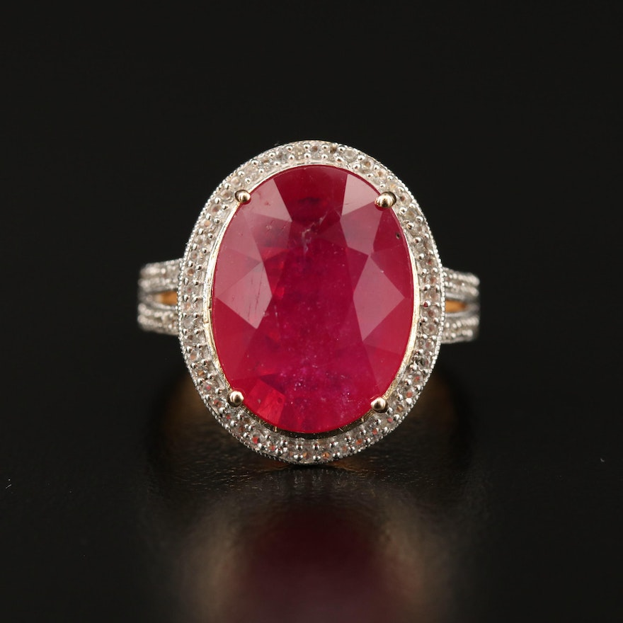Sterling Ruby and White Sapphire Halo Ring