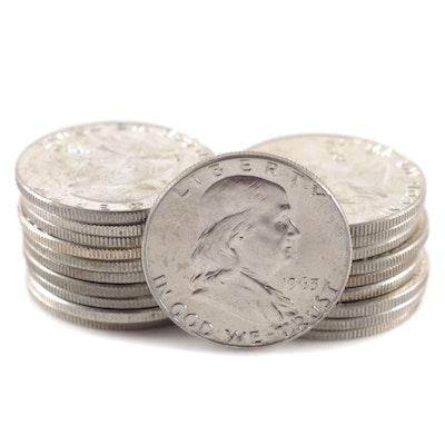 Twenty 1963-D Franklin Silver Half Dollars