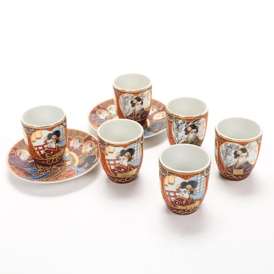 Hand-Painted Kutani Satsuma Tea Cups and Saucers, Mid-20th Century